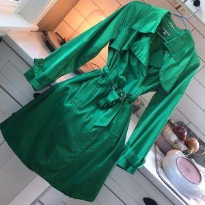 Emerald satin trench coat